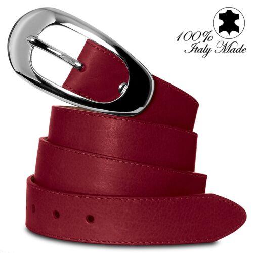 CASPAR Damen Gürtel Ledergürtel mit silberner Schnalle echt italienisches Leder
