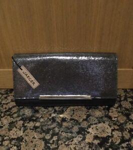 150 £ pelle con in polvere e Jaeger Elegante pochette Nwt argento nera Rrp BTwzvAxq