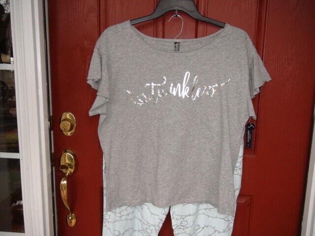 Ambrielle 2 piece Sleepwear Set size XL 100% cotton Grey twinkle  Length 38 in