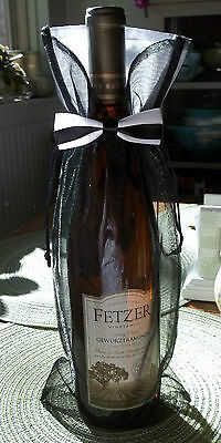 "1 Lg White on White Organza Wine Bottle 14/""x6/"" Wedding Tux Gift Bag /& Satin Bow"