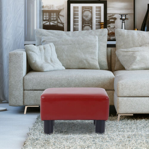 Modern Small PU Leather Ottoman Footrest Sofa Bench Stool Rectangle Red