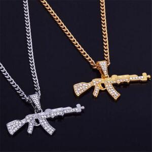 Fashion-Men-039-s-Brass-Out-Iced-LAB-DIAMOND-Hip-Hop-AK47-Gun-Chain-Cuban-Necklace