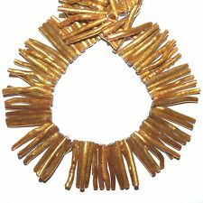 """CRL256f Radiant Gold Coral 38-50mm Top-Drilled Stick Gemstone Beads 16"""""""