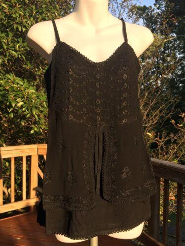 New/_Spaghetti Strap Embroidered Boho Tunic Top/_Free Size/_Black/_Gothic/_Gorgeous!