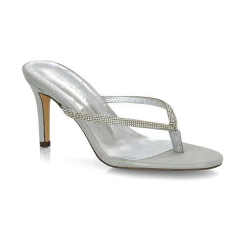 Womens Diamante Toe Post Stiletto Heel Sandals Ladies Flip Flop Shoes Size 3-8