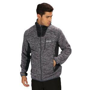 Regatta Mens Cartersville V Full Zip Hooded Fleece Jacket Top Black Sports