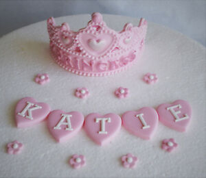 Astounding Personalized Edible Princess Tiara Birthday Cake Topper Decoration Personalised Birthday Cards Petedlily Jamesorg