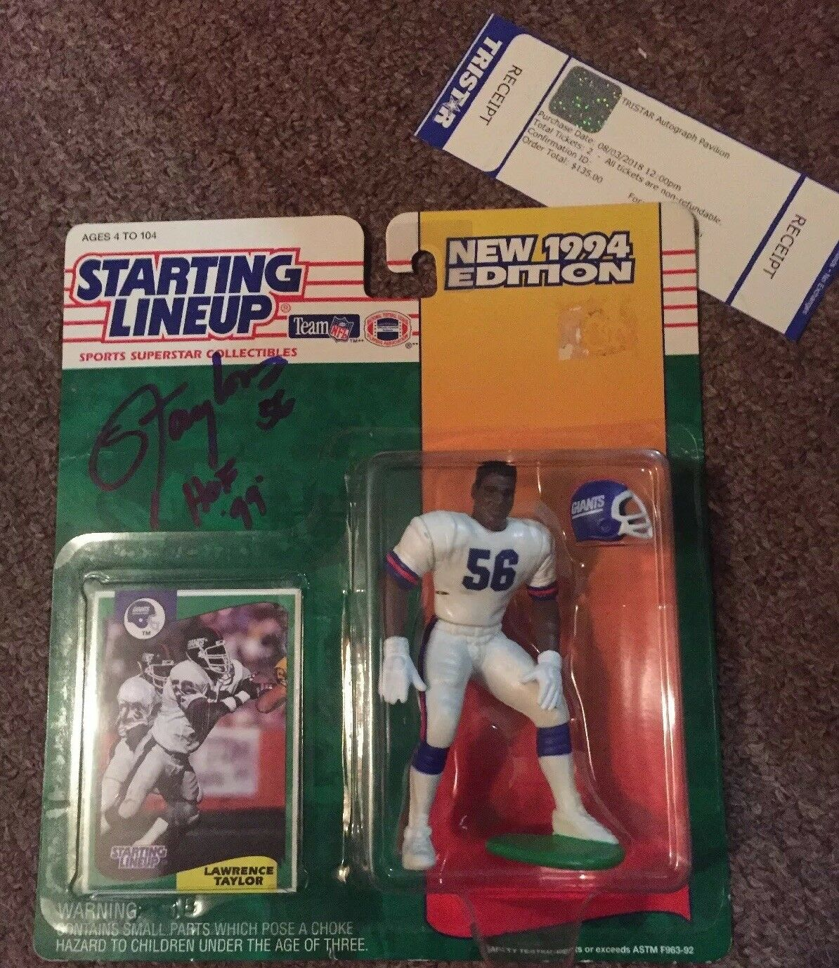 Lawrence Taylor Signed/ Autographed 1994 Starting Lineup... Tristar Certified