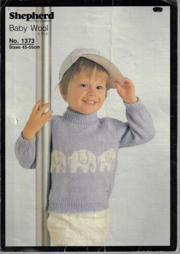Child/'s Elephant Motif Picture Knit Sweater Shepherd 1373 knitting pattern
