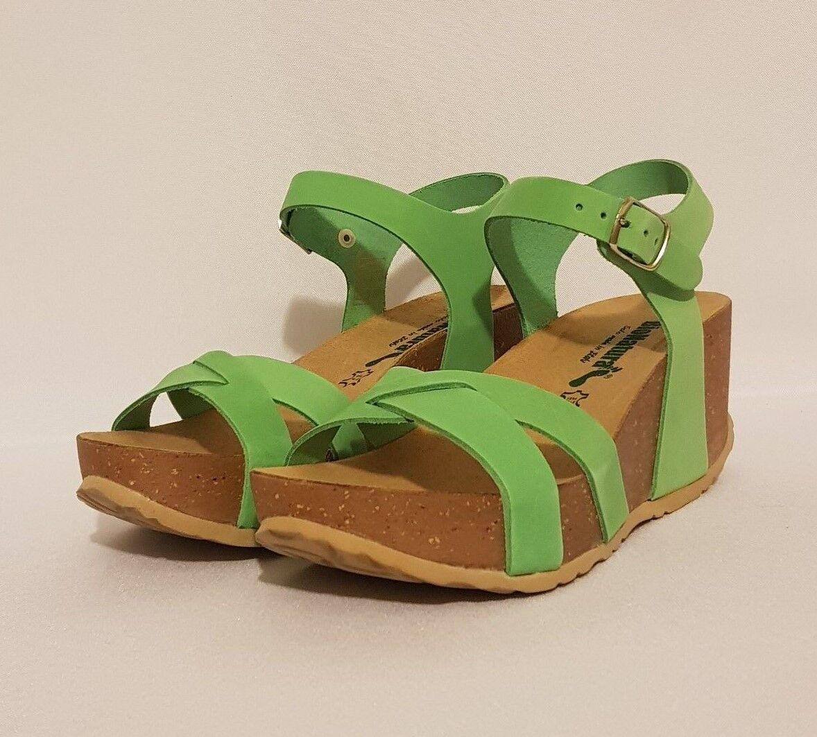 BioNatura 24 Fregene Orange, Turquoise Blue, Sandals Green, Nubuck Leather Wedge Sandals Blue, 643c24