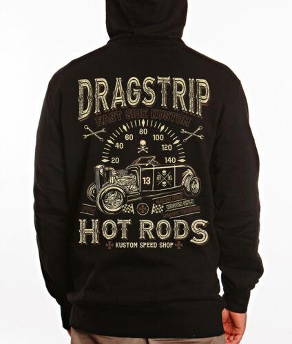 Dragstrip Clothing Mens Hooded Top East Side Kustom Hot Rod Hoody Biker Hoody