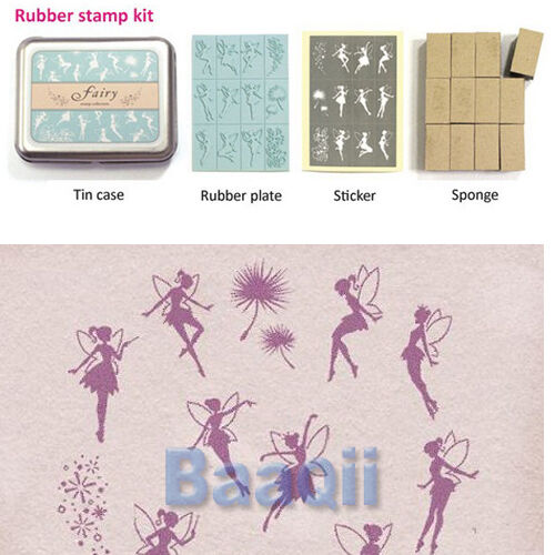 DIY 12pcs Rubber Stamp kit with tin cass tinkerbell wings DT Lovely Fairy