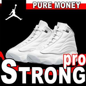 """NIKE AIR JORDAN PRO STRONG """"PURE MONEY"""" WHITE METALLIC PLATINUM BASKETBALL 14"""