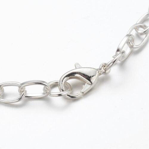 """Silver Charm Bracelet Shiny Silver Link Bracelet 8/"""" Link Chain"""