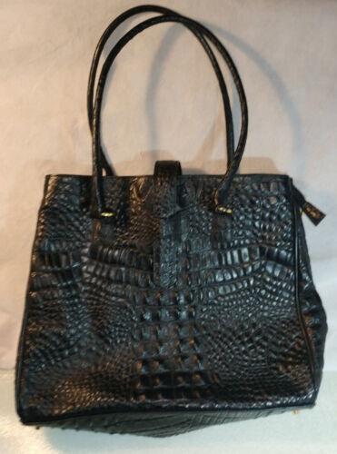 Gran Reptil textura Negro italiano de Piel Boutique animal bolso cuero rrqBZw