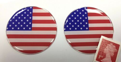 2 x USA Stars /& Stripes Flag Stickers Super Shiny Domed Finish 50mm Diameter