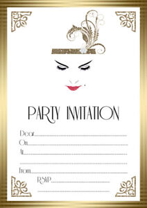 10 x great gatsby birthday party invitations and thank you cards art