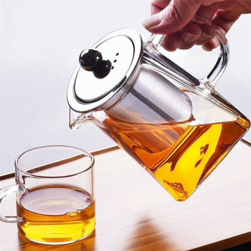 Glass Heat Resistant Tea Pot Clear Easy To Clean Teapot Strainer Filter Infuser
