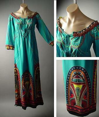 Island Moroccan Print Peasant Boho 70s Caftan Style Long Maxi 137 mv Dress S M L