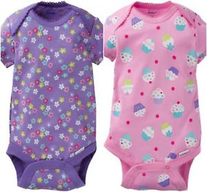 Gerber Onesie Brand New Baby Girls 2 Pack Onesies Cupcake /& Flower Design Gift