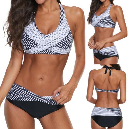 Plus Size Women Polka Dots Bathing Suit Push-up Beach Swimsuit Bikini Swimwear