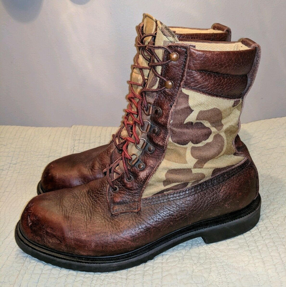 RARE VINTAGE RED WING IRISH SETTER CAMO HUNTING WORK BOOTS Uomo 11 M CAMOUFLAGE
