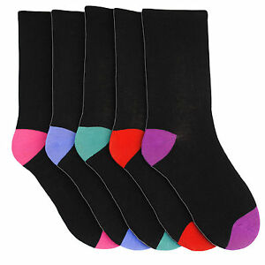5-Pairs-Pack-Ladies-WOMENS-Socks-Black-Toe-amp-Heel-Cotton-MIX-Size-4-7