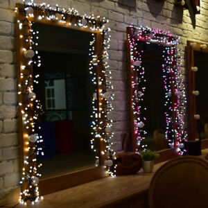 Details About 400 Led Cluster Christmas String Fairy Lights Twin Color Outdoor Indoor Curtain