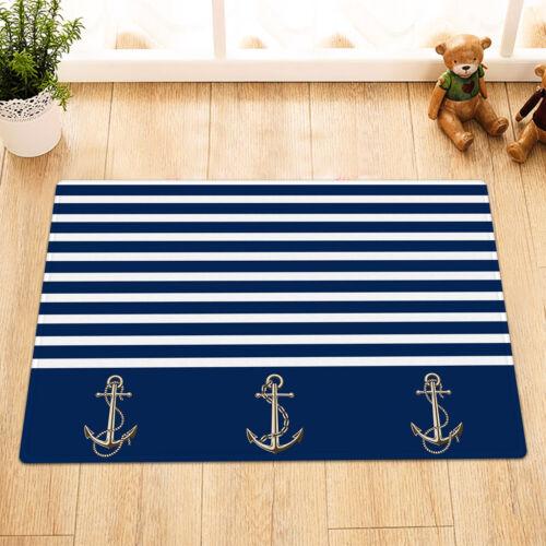 "Abstract Design Anchors Sailor Blue Stripe Shower Curtain Set Bathroom Decor 72/"""