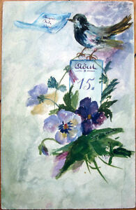 1905 Hand-Painted, Original Art Postcard: Bird & Flowers - Artist-Signed