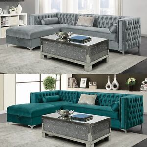 Details about Modern Glam Fabric Upholstered Tufted Velvet Sofa Sectional  with Storage Chaise
