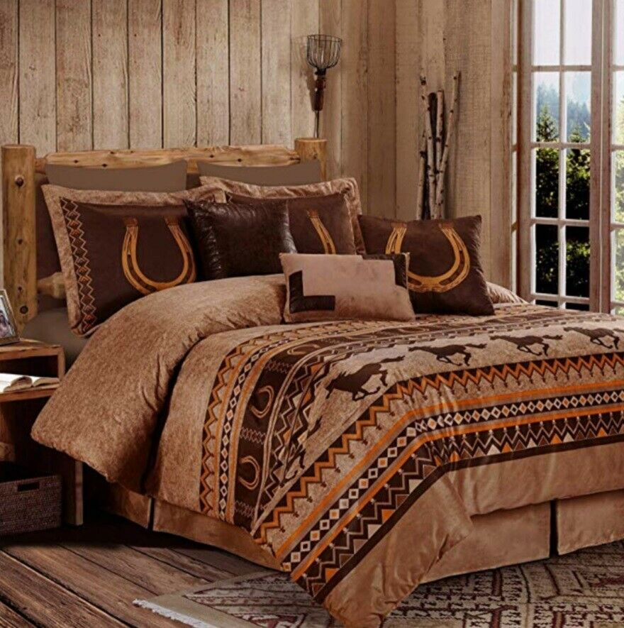 7 Piece Comforter Set Southwestern Wild Horses Bed Skirt Micro Suede Queen King