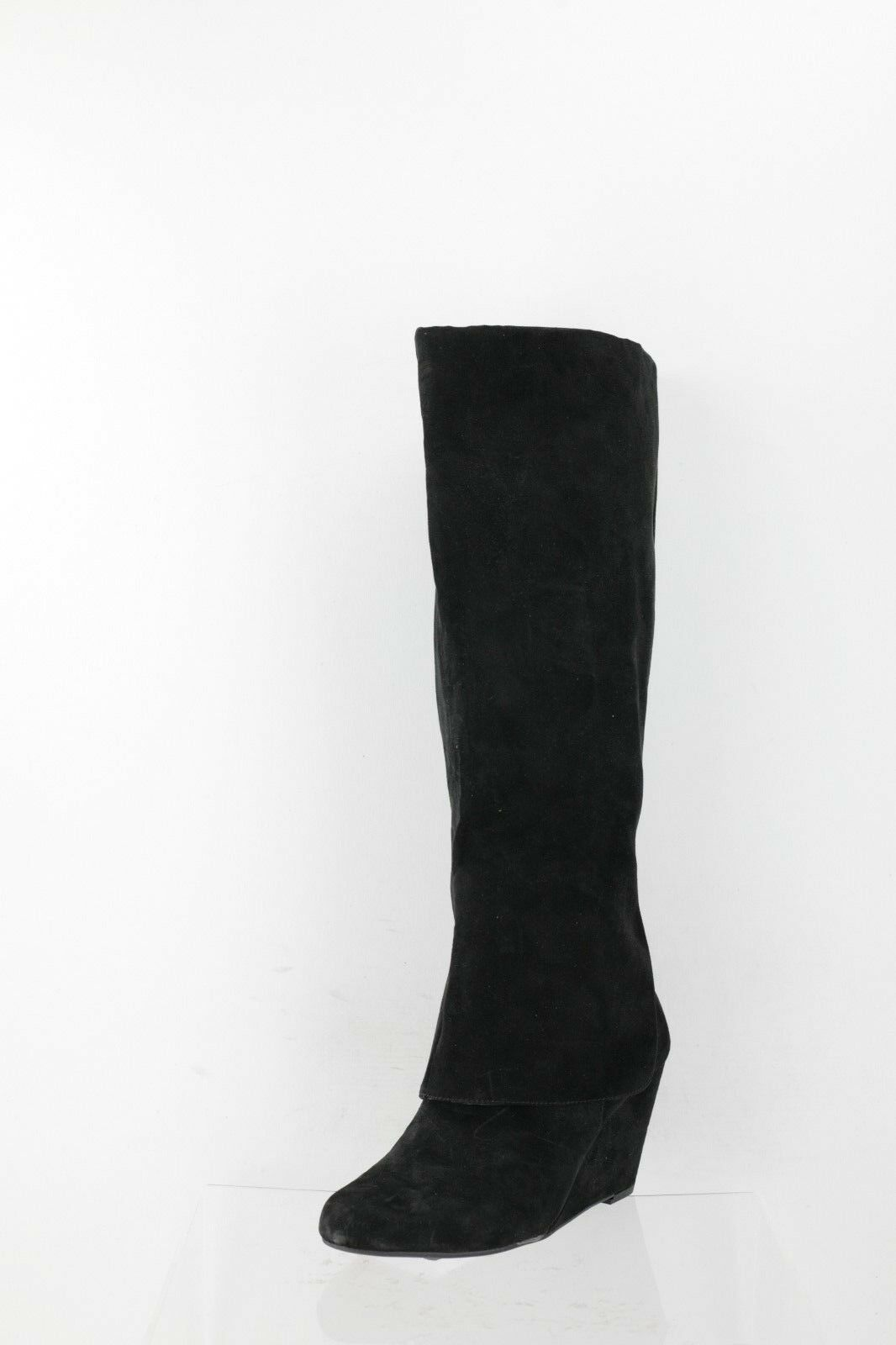 Jessica Simpson Knee Riese Black Suede Wedge Knee Simpson High Boots Women's Shoes Size 6.5 M 00c218