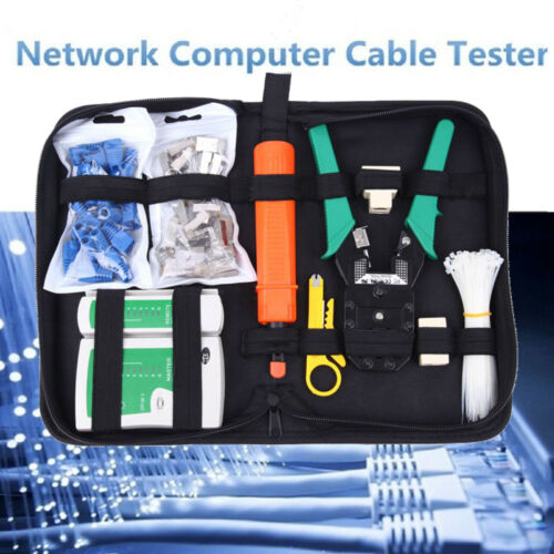 Network Ethernet LAN Kit RJ45 Crimper Cat5e Cat6 Cable Tester Crimping Tool Kit