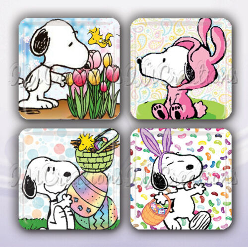 """Snoopy Lovers Easter Collection Set of 4 Glass Tile Magnets 1/"""" square"""