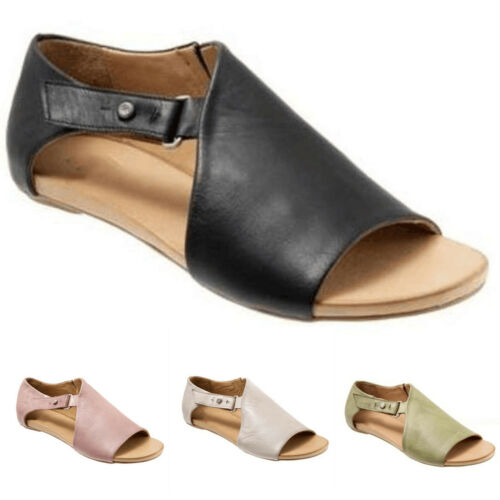 UK Womens Peep Toe Buckle Flat Sandals Ladies Summer Holiday Cut Out Boots Shoes