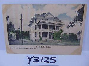 Image Is Loading Vintage Posted Postcard Stamp 1908 Rock Lake Hotel