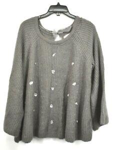 Lauren-Conrad-Women-Gray-Scoop-Neck-Long-Sleeve-Sequin-Embellish-Knit-Sweater-XL