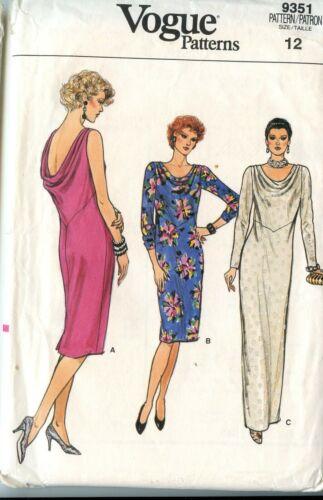 80s Vogue Dress Patterns  2 Slim Fitting Styles Size 12 /& 12-14-16 U pick