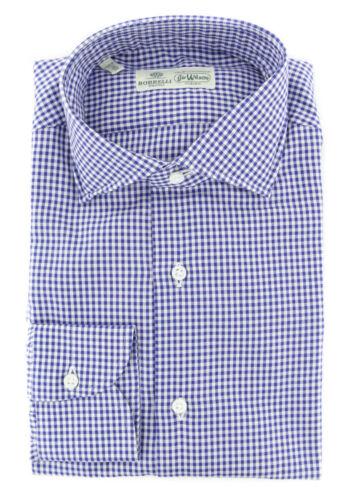 $450 Luigi Borrelli Blue Micro-Check Cotton Shirt Extra Slim 190