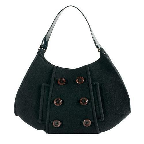 Felt Black Cadee Wool Felted Peacoat Leather Kate Patent Beantown Spade Button j5L3Rq4A