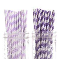 Dress My Cupcake 50-pack Vintage Paper Straws, Striped, Lavender/purple, New, Fr on sale