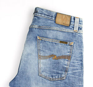 Nudie Jean Hommes Big Bengt Slim Jeans Jambe Droite Taille W36 L32 APZ622