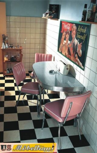 WO-24 Set US Diner Tisch 3 Stühle Bel Air Retro Look Möbel Reproduktion Amerika