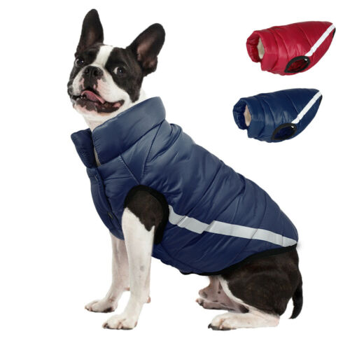 Reflective Dog Winter Coat Vest Pet Fleece Padded Clothes Jacket Windproof XS-L