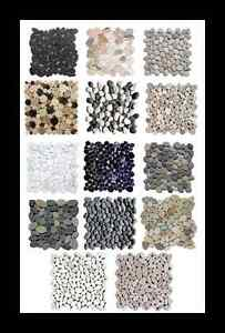 Das Bild Wird Geladen Flusskiesel Mosaik Borduere Weiss Grau Schwarz  Holzoptik Wand