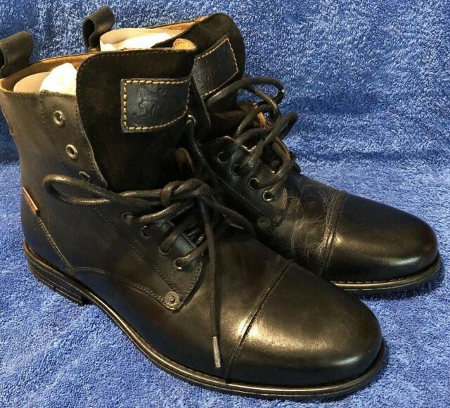 87f65e8ef7a Levi's Mens Black Leather BOOTS Emerson Lace up UK 9 225115-825-59 Uk9
