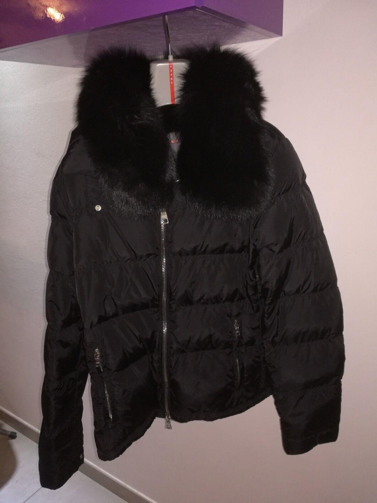 PRADA Piumino Giubbotto Imbottito women TG 42 color black Collo Lapin ORIGINALE