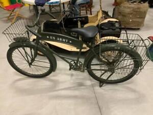 "Vintage 1930's Pre WWII U.S. Army Bicycle 26"" Green Military GAS OIL COLA W/Seri"