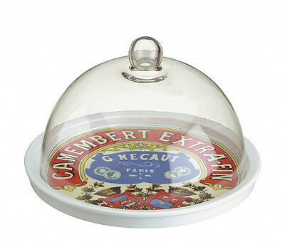 BIA 24cm Camembert Design Porcelain Cheese Platter & Glass Dome Tray Plate New